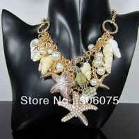 Min Order $10 Fashion Jewelry Summer Style Chork Peal Star Necklace for Women