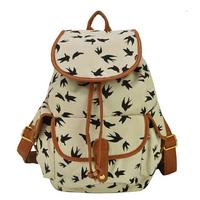 new 2015 women backpack canvas bag school backpacks print sports travel Bag HL953