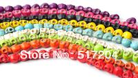 Shamballa Style Skull Turquoise Beads Semi-preciouse stone 8*10mm 10 Color Choice! Fit Bracelets 400pcs Wholesale