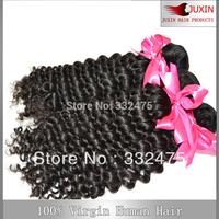 "3pcs/lot 100g/pc  Indian Virgin Deep Curly Hair natural black 8""-34'' Mix length human hair deep  wave weave  free shipping"