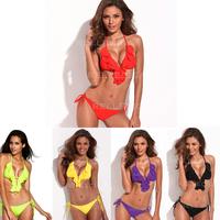 Elegant Light Sexy Bikini Swimwear Fully-Lined Ruffle Triangle Top Bikini swimsuits for women