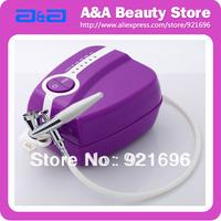 Portable Makeup Airbrush Set Mini Air Compressor with Spray Gun kit 5 Speed Airbrush tattoos cake bakery 24h Working