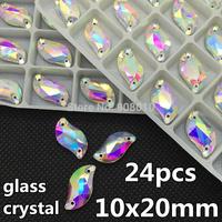28pcs 10x20mm Glass Crystal Clear AB S Leaf Shape Sew on Rhinestone Crystal Flatback 2 holes Silver Base