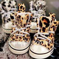 Free shipping leopard grain movement leisure shoes dog pet warm shoes boots