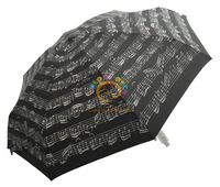 6339,Top Hot Umbrella,Black Musical Notes,8K,5-fold,Super Mini & Light,Fill with Romantic&Musical Tingle,Italy Order Stock