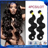 Hair extension unprocessed virgin hair brazilian hair body wave 4pcs lot virgin brazilian wavy hair