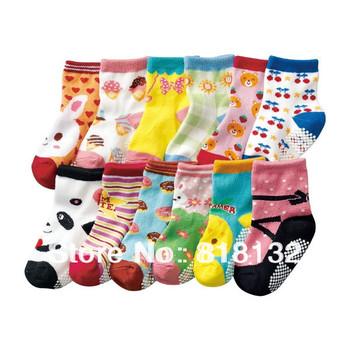 Free shipping ( 12 pairs/lot ) 100% cotton Baby socks rubber slip-resistant floor socks cartoon small kid's socks