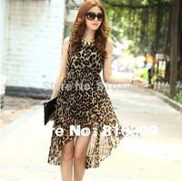 2014 Hot Sale Irregular Black/Leopard/Blue Sleeveless Chiffon Pleated Long Dress Womens Ladies Casual Summer Dresses#CGD011