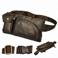 Stylish small mens leather fanny pack for mobile phone wallet Fashionable men sport waist pouch bag Brown Black Free shipping