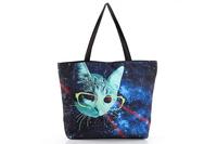 FREE SHIPPING Fashion Walker  HB002 Women/Man Galaxy  Cat Printed Handbag Computer LAPTOP Ipad Shoulder Bag Recycle Wholesale