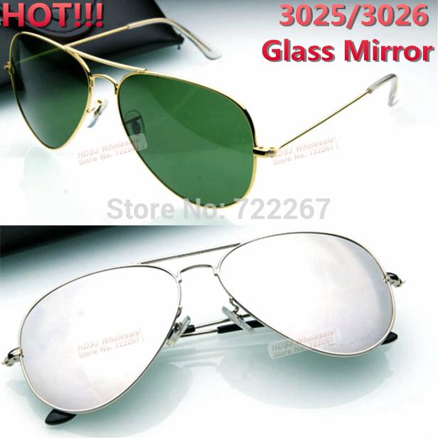 New Fashion Aviator rb Sunglasses for Men women rb3025 vintage brand name designer retro Glass silver mirror driver eye glasses(China (Mainland))