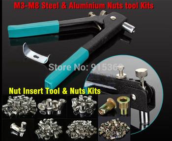 DIY Rivet Nut Gun Tool Kits250pcs Nuts  M3 M4 M5 M6 M8 Hand Insert Nut Tool ,