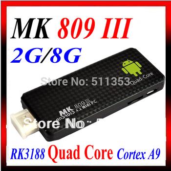 Quad Core Mini PC Androind 4.2.2 TV BOX Rockchip RK3188 Cortex A9 MK809III 2GB RAM 8GB ROM 1.6GHz Web Camera Support MK809 III