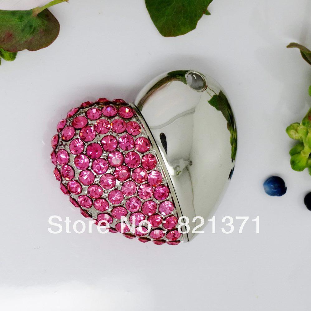 jewelry usb stick Swarovski crystal heart shape USB Flash Drive 8GB 16GB 32GB 64GB real capacity  flash disk  free shipping