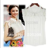 2013 New Fashion  Star Women Elegant Lace Chiffon Shirt Womens Blouse S M L XL Retail/Wholesale 8229