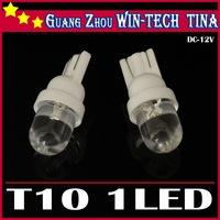 Free shipping 10pcs 12V 1 LED Car Indicator white Light Bulbs Wedge Lamp T10 1LED Round Interior Light