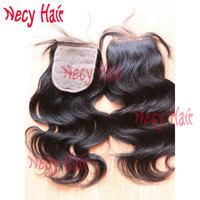 HOT sale! silk base closure 6A Virgin peruvian hair, body wave natural color, hidden knots silk closure in stock