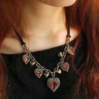 6pcs/lot G1 Wholesale Angel Heart Gem Pendant Necklace Women Vintage Jewelry Statement Bijouterie Boutique glObal ACCeSSories