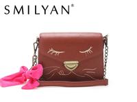 Smilyan fashion small Peekaboo bag leather small women's messenger bag vintage women's shoulder bag cat mini women's handbag