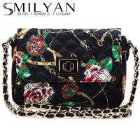 New 2014 SMILYAN vintage print plaid chain women handbags women messenger bags women shoulder bags women cross body bags black