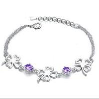 Austria crystal lucky four leaf clover bracelet fashion accessories vintage bracelet for girls female factory price