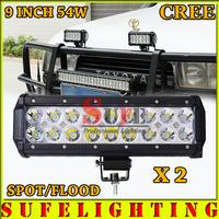 FREE DHL SHIP 2PCS 9INCH 54W CREE LED LIGHT BAR FLOOD FOR OFF ROAD TRUCK LED BAR IP67 4WD ATV UTV SUV LED WORK LIGHT BAR 36W 72W