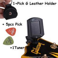 Music Tools Leather Pickholder + ET-33 Tuner + 5pick LCD Digital Guitar Bass Violin Ukulele Guitar Tuner ENO ET-33