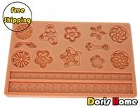 Free Shipping flower silicone cake decorating fondant mold tool