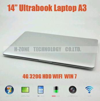 Freeshipping 2013 brand new cheap 14'' Slim Laptop computer  4GB RAM 320GB HDD  Intel N2600 Dual 1.6 Ghz WIFI WIN7 Webcam