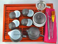 Porcelain purple clay Tea set with  33cm *24.5cm *5.5cm wood tray,for tea board.teapot ,tea cups,Free shipping !!!