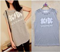New Designs 2014 Fashion Rivet T Shirts Punk Style Women O-Neck Letters Printed Tops Sleeveless Hoody Cotton T-shirt TS-255