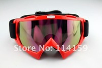 Adult bicycle motorcycle cross-country skis snow red glasses goggles