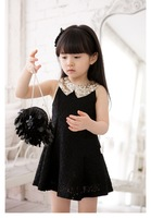 Retail new 2013 summer girls dress, princess children dress Lace Splice Sequined collar