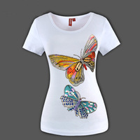 New arrive! Double Big butterfly Animal printing set auger Beading Sequined women t-shirt BIG SizeFULL S-3XL 18016 Free shipping