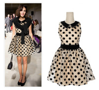 European New 2014 High Quality Women Dot Designer Black Beige Organza Celebrity Dress Sexy Girls Sleeveless Evening Dress 6213