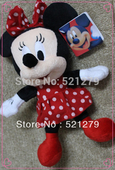 Free shipping wholesale 12pcs/lot stuffed Minnie Mouse plush toys doll,Minnie Mouse stuffed dolls for kids gifts