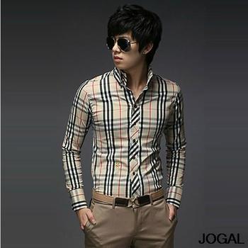Free Shipping New Men's Stripe Stylish Casual Slim Fit Long Sleeve Dress Shirts 2Color Black Blue US Size:XS,S,M,L 8569