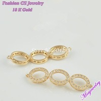 2014 Free Shipping  Fashion Jewelry  Clasps Mosaic  Zircon For Jewelry Making 6pcs/lot  MixColor 10*39MM  Brass Necklaces Clasps