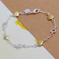 Free Shipping Wholesale 925 Sterling Silver Bracelets & Bangles,925 Silver Fashion Jewelry,Separations heart Bracelet SMTH205
