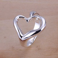 Free Shipping 925 Sterling Silver Ring Fine Fashion Opening Heart Silver Jewelry Ring Women&Men Gift Finger Rings SMTR009
