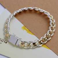 Free Shipping Wholesale 925 Sterling Silver Bracelets & Bangles,925 Silver Fashion Jewelry,10M sideways Bracelet SMTH091