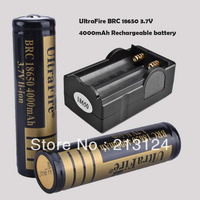 Free Shipping 2x 4000mAh 3.7V 18650 Li-ion Rechargeable Battery + Charger For UltraFire LED Flashlight Torch flash light