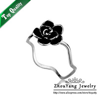 ZYR156 Silvery Romantic Black Rose Ring 18K Platinum Plated Made with Genuine Austrian Crystals Full Sizes Wholesale