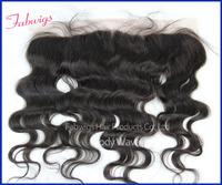 "Brazilian Virgin Hair Lace Frontal Closure 13x4"" Bleached Knots Virgin 8-20"" Body Wave Full Lace Frontal Brazilian Wavy Closure"