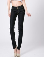 2013 new arrival high waist jeans trousers women slim jeans designer brand leggings ladies slim pencil pants dark blue black