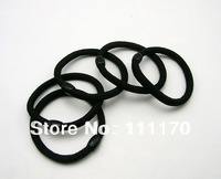 100PCS/Lot Black Color Rope Elastic Girl's Hair Ties Bands Headband Hair Strap With Plastic Bead  Connector J010