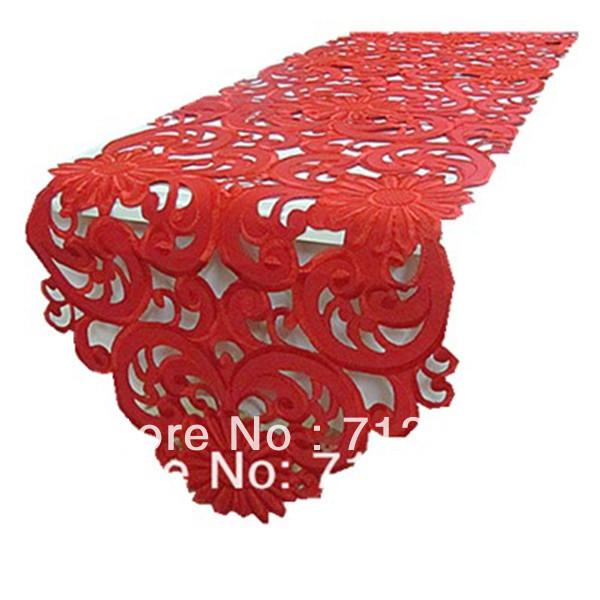 Free shipping!Red color lotus widding embroidery table runners for home (40*220cm) Corredor da tabela do bordado No.599(China (Mainland))