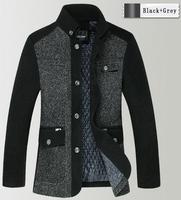 2014 New Top Fashion Clothes Brand Jacket for men coat stand collar casual coat woollen winter mens jacket Blazers men outercoat
