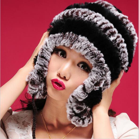 ZDFURS * Hot-selling cute New Real knitted REX rabbit fur hat with fur balls Beanie skullies cap earmuff earwarmer head wamer(China (Mainland))