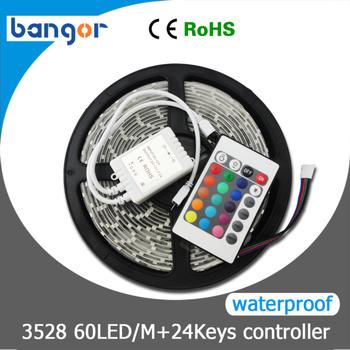 Free Shipping Waterproof 3528 RGB LED strip light 60LEDs/M 5M/Lot,Just RGB with 24keys IR Controller